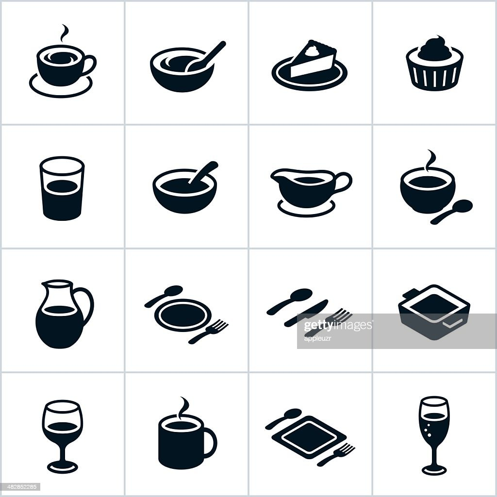 Black Serving Dishes Icons : stock illustration