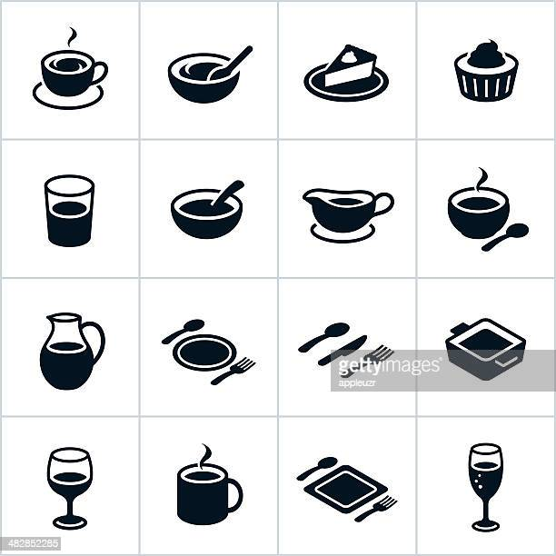 black serving dishes icons - breakfast cereal stock illustrations, clip art, cartoons, & icons