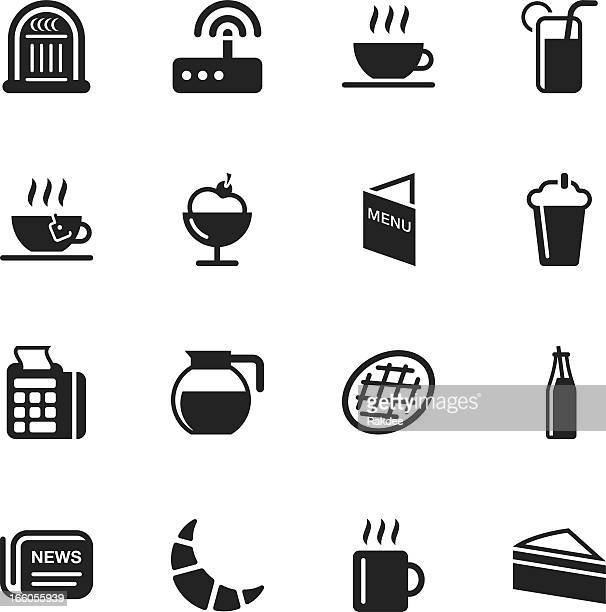 a black set of cafe icons on a white background - waffle stock illustrations, clip art, cartoons, & icons