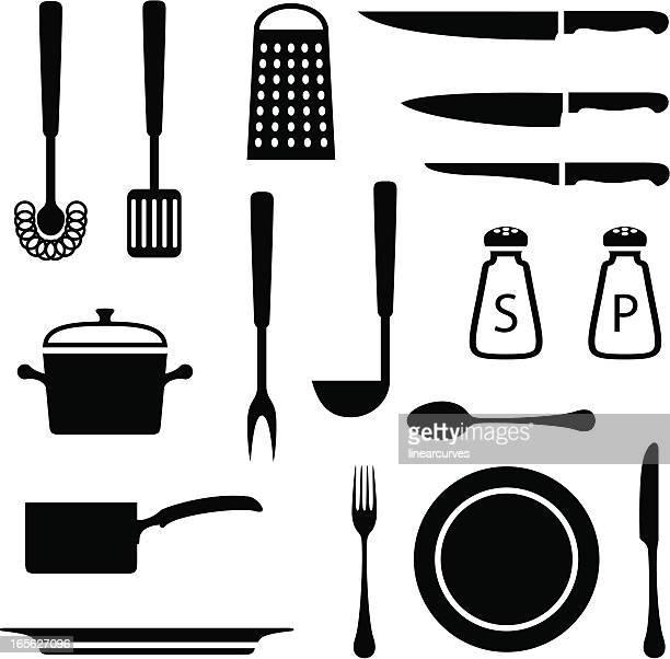 Black set of kitchen icons on white background