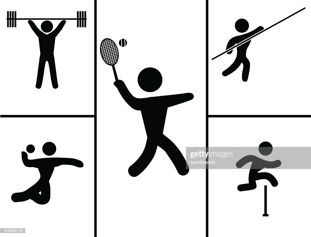 Black set of sport icons. Vector illustration