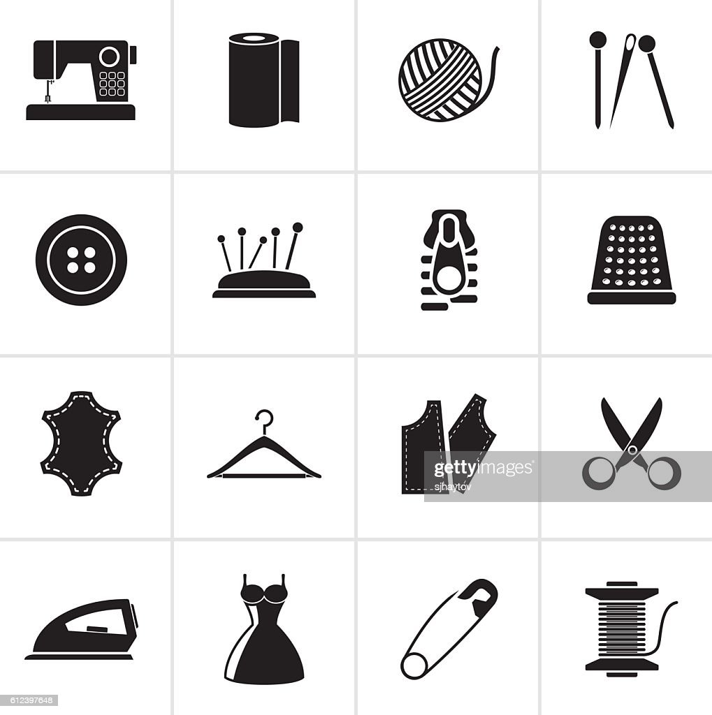 Black sewing equipment and objects icons