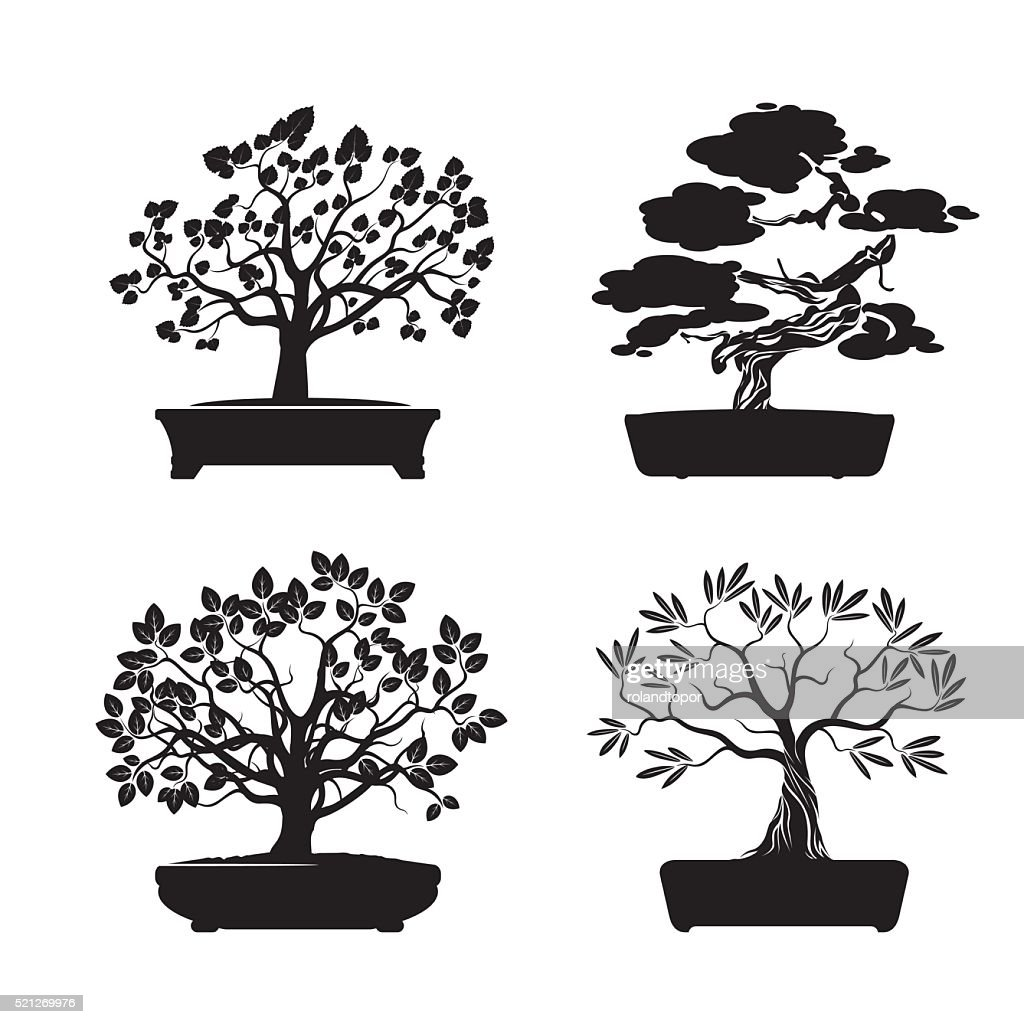 Black shape Bonsai Trees. Vector Illustration.