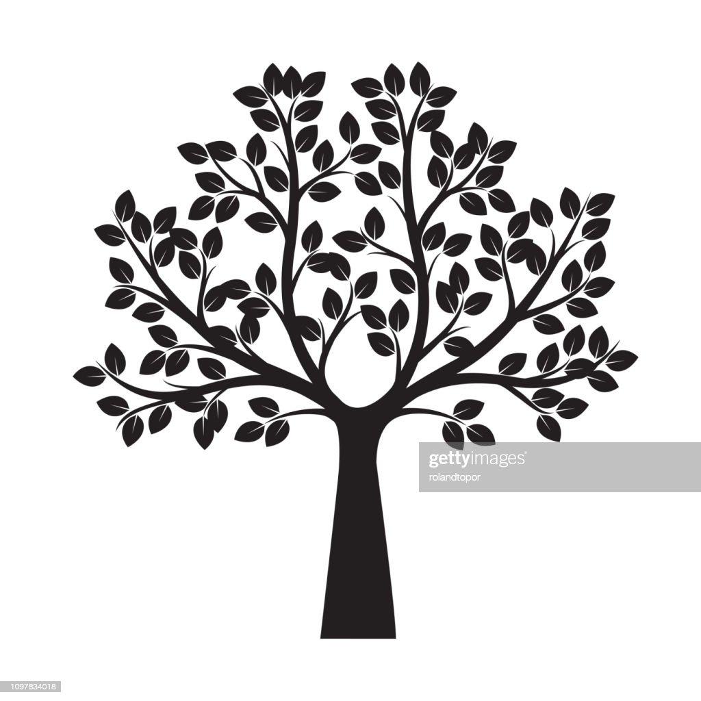 Black shape of Tree. Vector Illustration. Plant in garden.