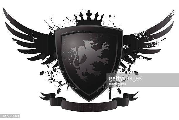black shield with griffin - griffin stock illustrations, clip art, cartoons, & icons