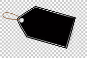 Black Shining Blank Tag with Chrome List, Isolated on White