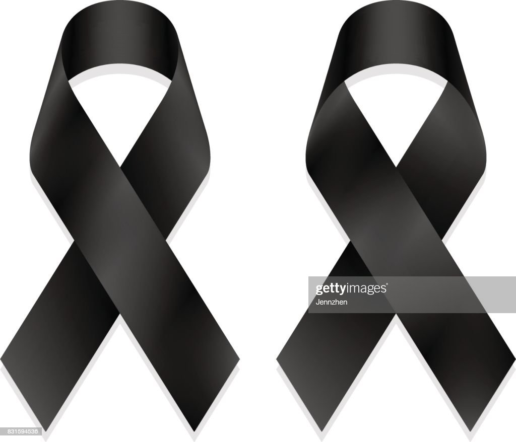 Black shiny ribbon mourning isolated on white background, front and back view, a vector illustration.