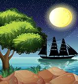 Black ship at the sea under the bright moon