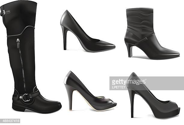 Black Shoe Collection - Vector Illustration