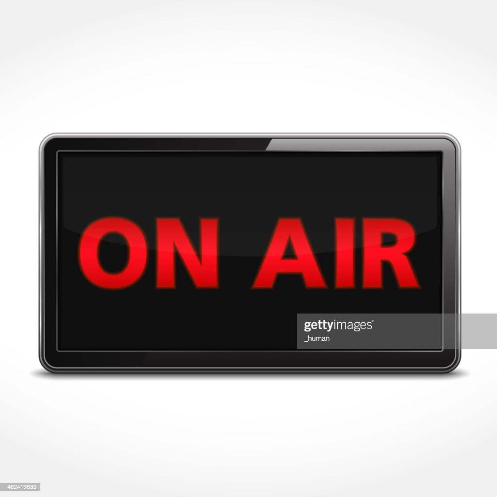 Black sign with ON AIR written in red on white background