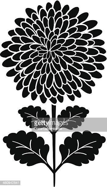 ブラックのシルエットの菊の花 - キク科点のイラスト素材/クリップアート素材/マンガ素材/アイコン素材