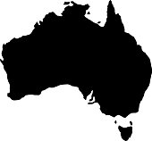 black silhouette country borders map of Australia on white background of vector illustration