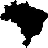 black silhouette country borders map of Brazil on white background of vector illustration