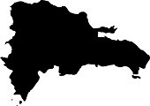 black silhouette country borders map of Dominican Republic on white background of vector illustration