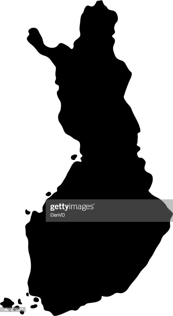 black silhouette country borders map of Finland on white background of vector illustration