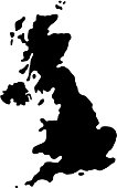 black silhouette country borders map of Great Britain on white background of vector illustration