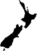 black silhouette country borders map of New Zealand on white background of vector illustration