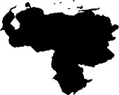 black silhouette country borders map of Venezuela on white background of vector illustration