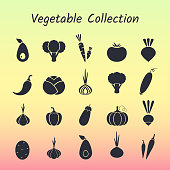 Black silhouette isolated vegetable icon set.