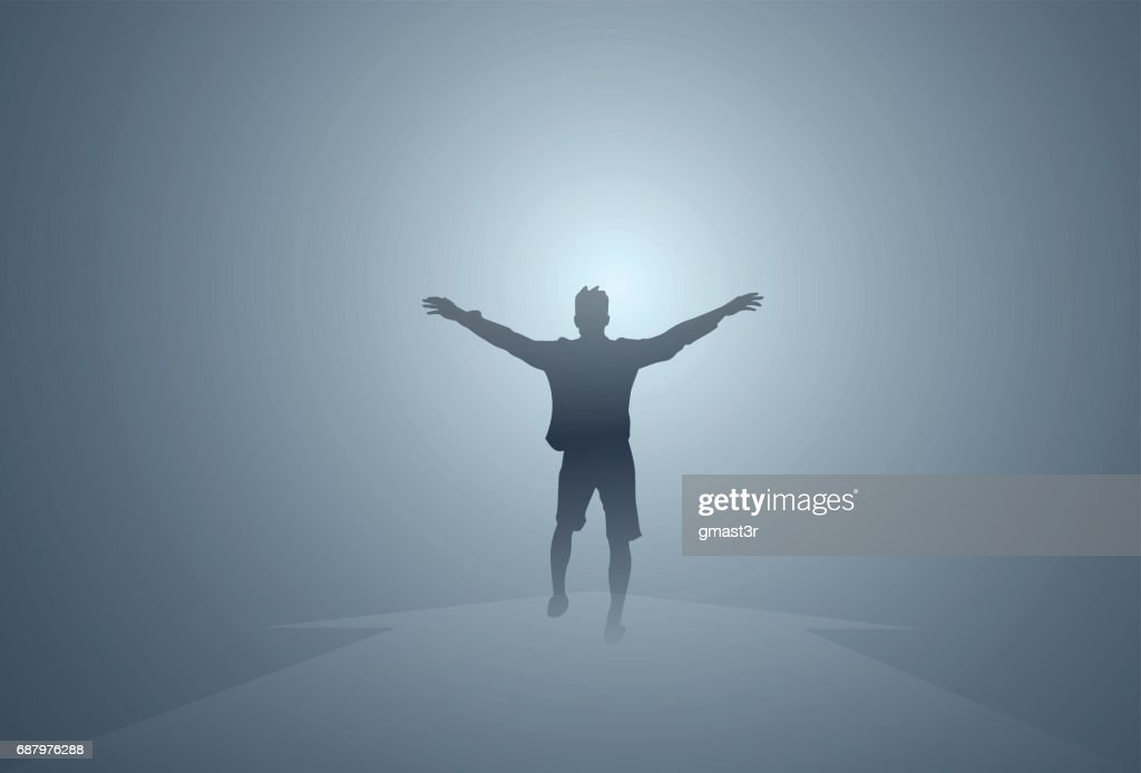 Black Silhouette Man Cheerful Raised Hands Full Length Isolated Happy Guy