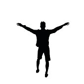 Black Silhouette Man Cheerful Raised Hands Full Length Isolated Over White Background Happy Guy