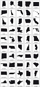 black silhouette maps of 50 us states