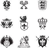 Black silhouette mixed heraldry set
