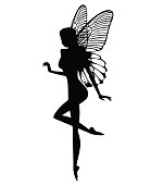 Black silhouette of a fairy on a white background