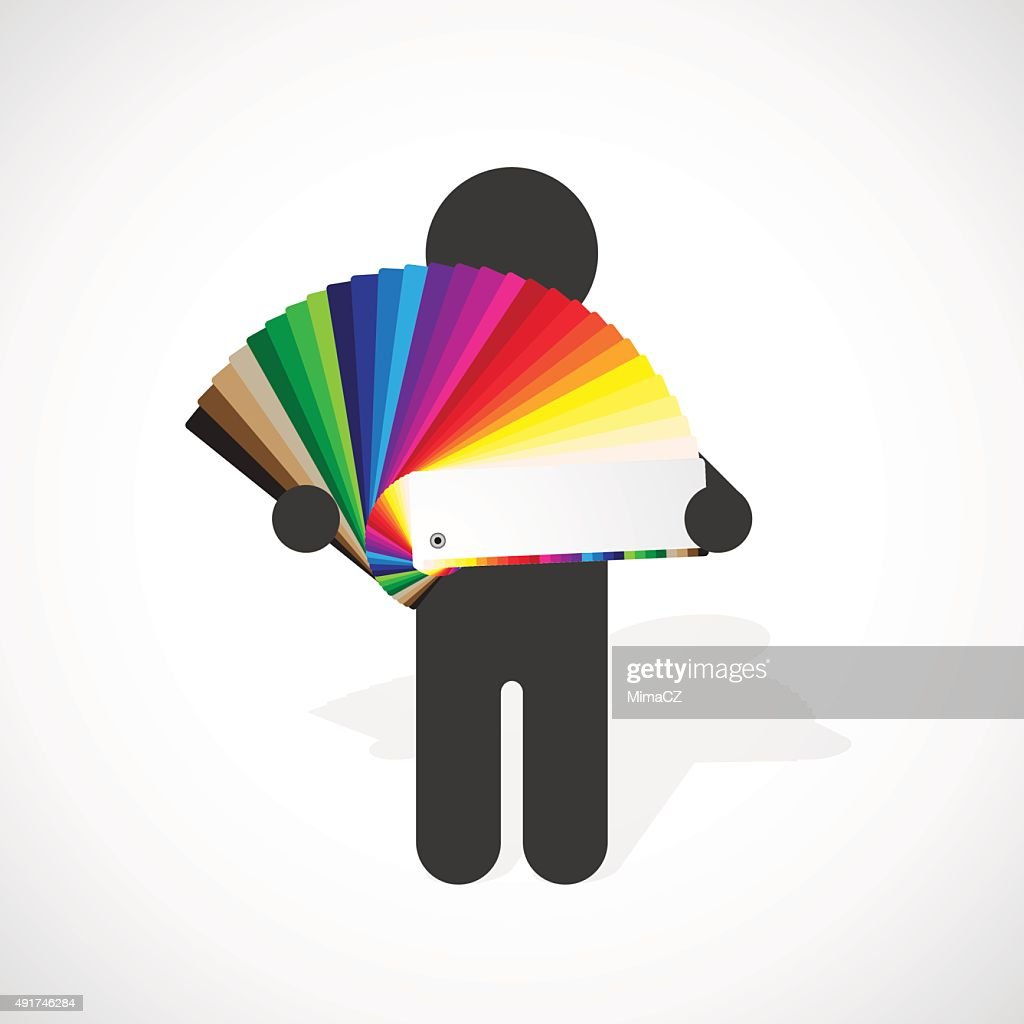 black silhouette of a man holds color swatches palette