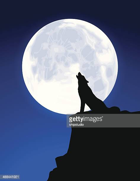 black silhouette of a wolf howling at a full moon - howling stock illustrations, clip art, cartoons, & icons