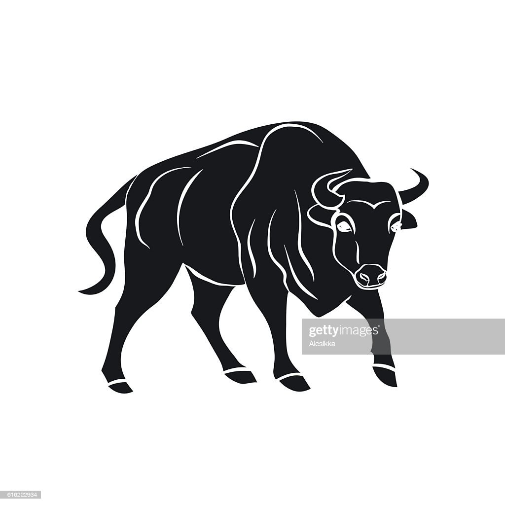 black silhouette of bull on white background. : Vektorgrafik