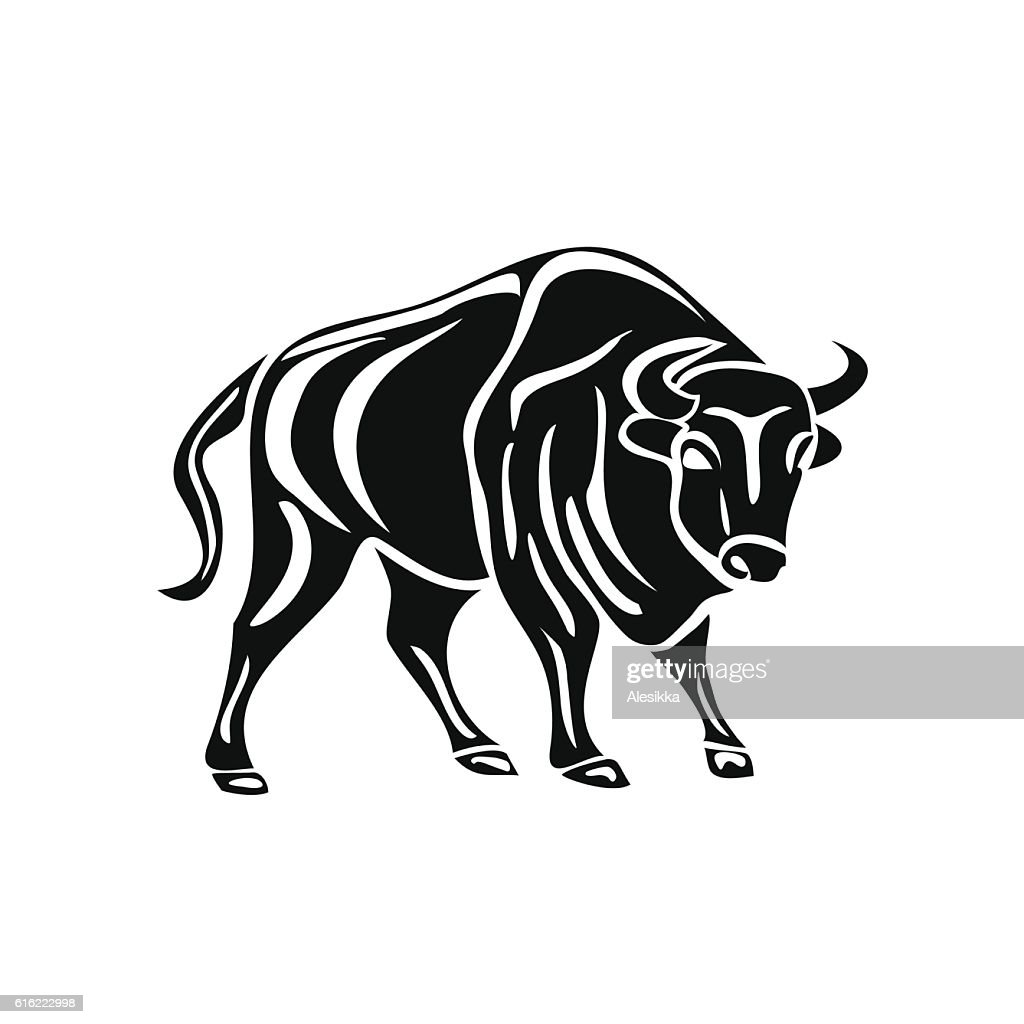 black silhouette of bull on white background. : Vector Art