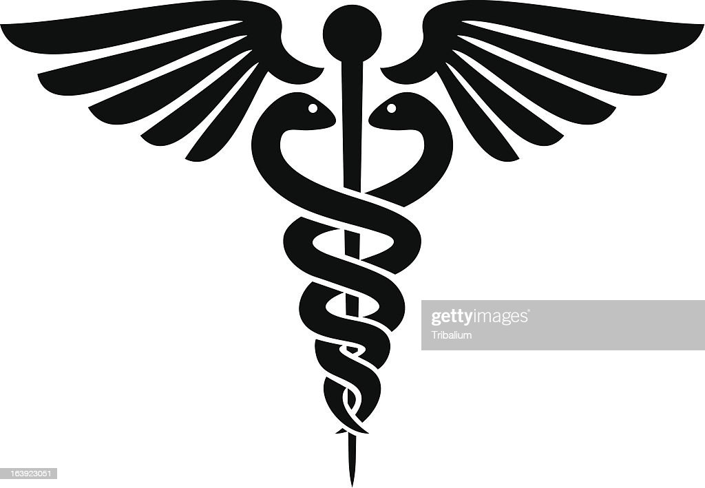Black silhouette of caduceus medical symbol