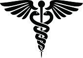 Black silhouette of caduceus medical symbol
