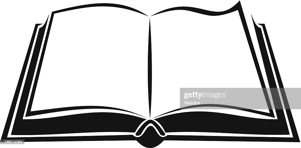 Black silhouette of open book. Vector illustration.