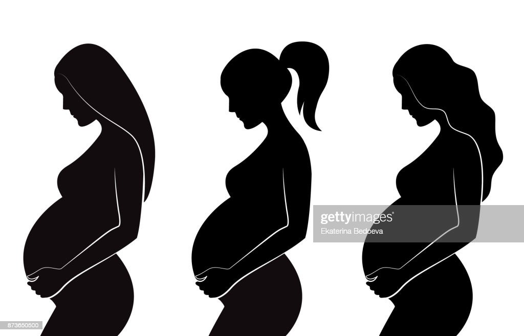 Black silhouette of pregnant women with different hairstyles: straight hair, curly hair, ponytail.