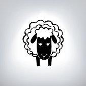 black silhouette of sheep