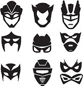Black silhouette of superheroes masks. Vector monochrome illustrations set isolated