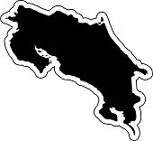 Black silhouette of the country Costa Rica with the contour line. Effect of stickers, tag and label. Vector illustration