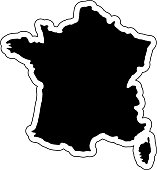 Black silhouette of the country France with the contour line. Effect of stickers, tag and label. Vector illustration