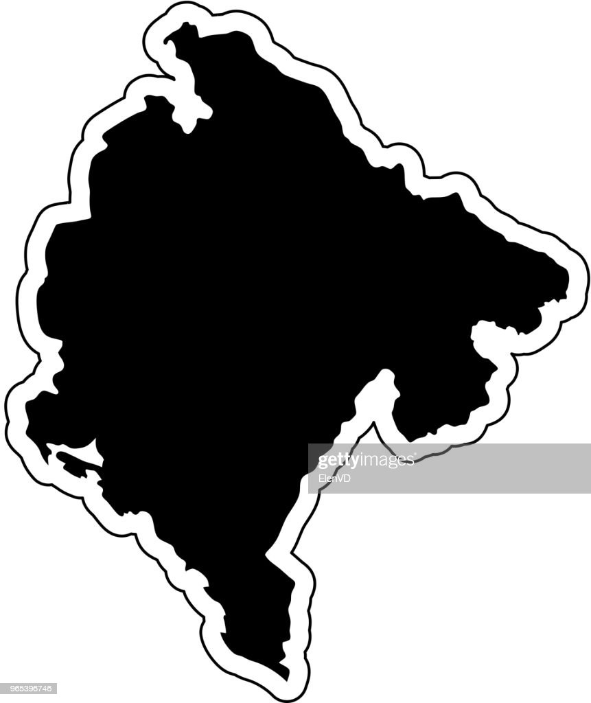 Black silhouette of the country Montenegro with the contour line or frame. Effect of stickers, tag and label. Vector illustration