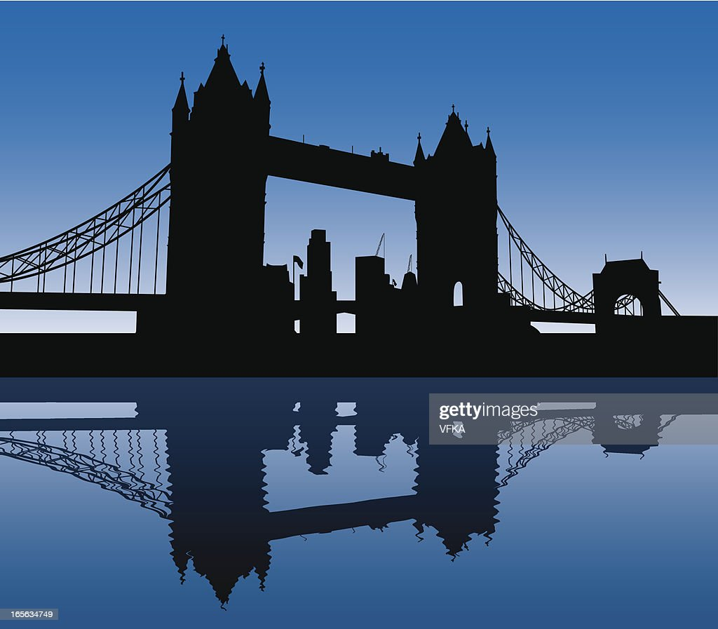 Black silhouette of the Tower Bridge on a blue background