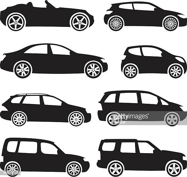 black silhouettes - cars - hatchback stock illustrations, clip art, cartoons, & icons