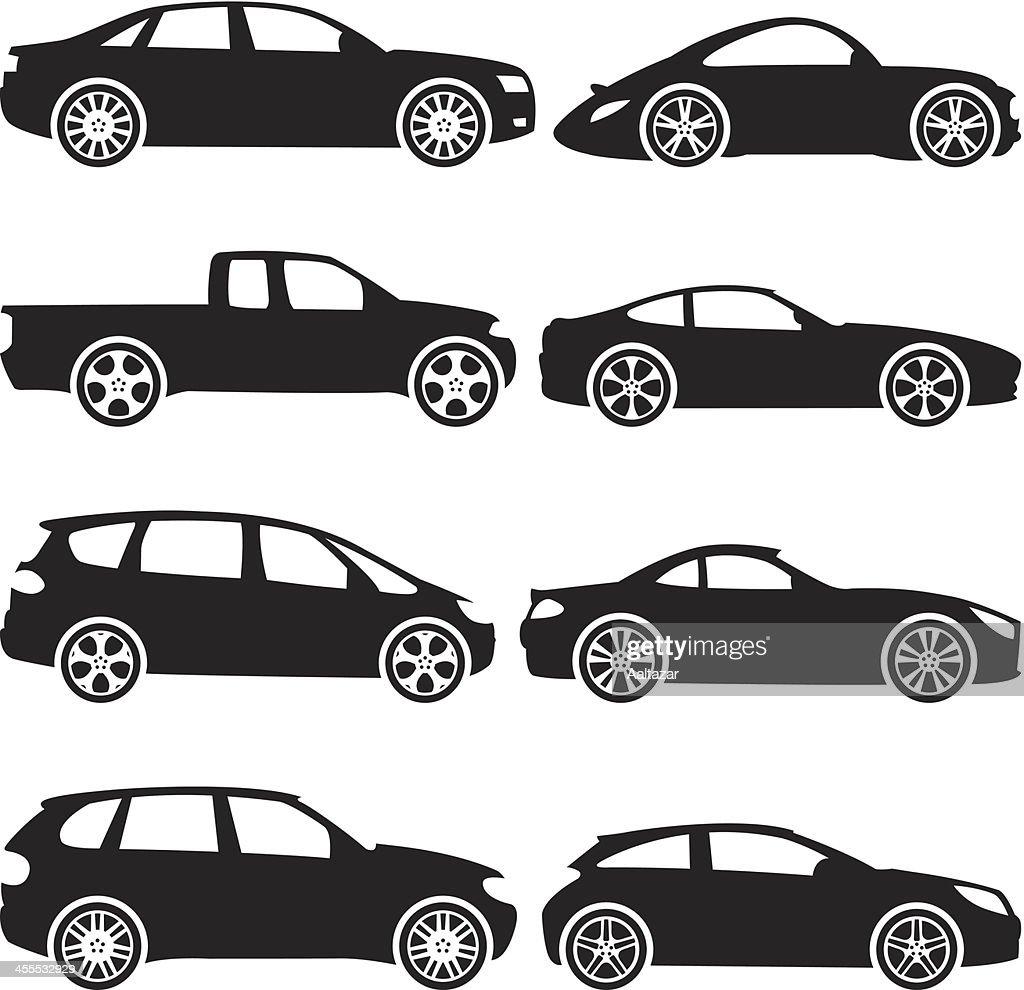 Black Silhouettes - Cars : stock illustration
