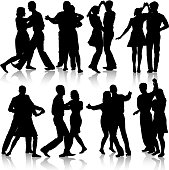 Black silhouettes Dancing on white background.