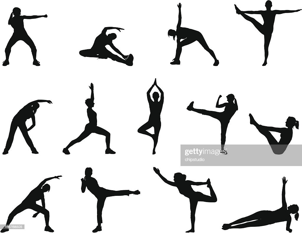 Black silhouettes doing yoga poses on a white background