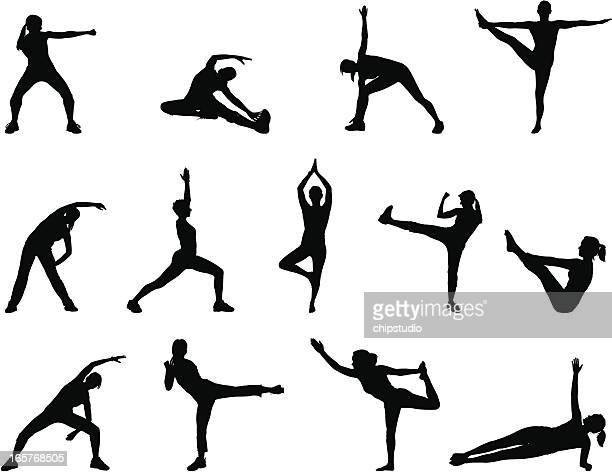 black silhouettes doing yoga poses on a white background - aerobics class stock illustrations, clip art, cartoons, & icons