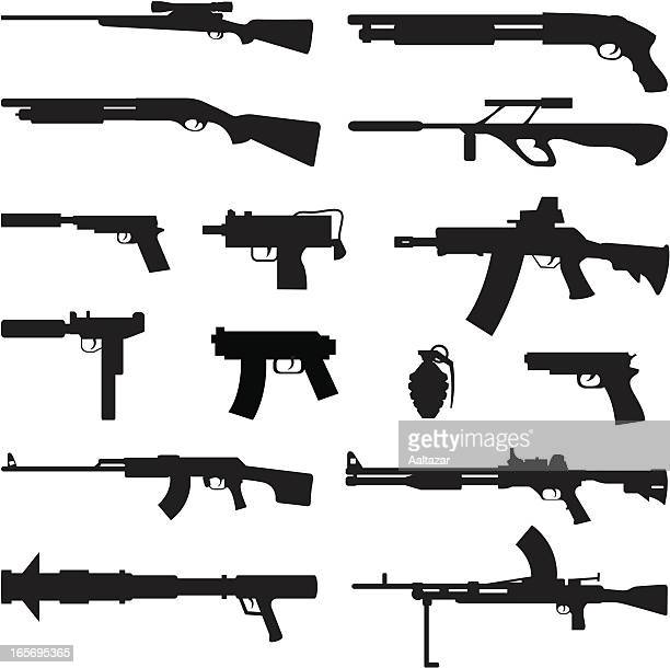 black silhouettes - guns - handgun stock illustrations