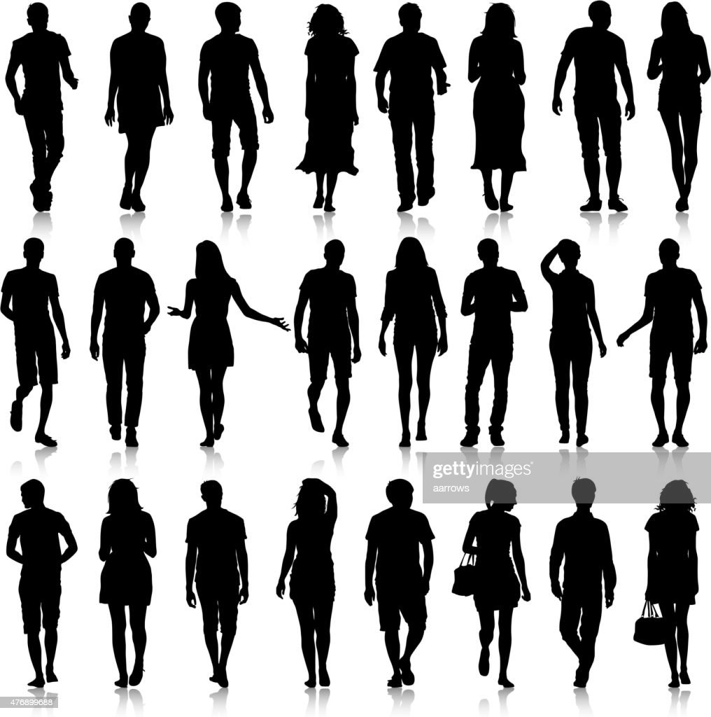 Black silhouettes mans and womans