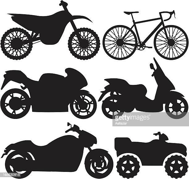 black silhouettes - motorcycles - moped stock illustrations, clip art, cartoons, & icons